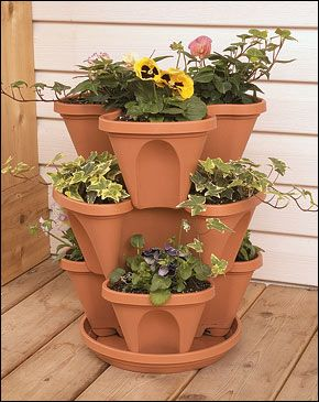 #stackable #planter #pots Great for strawberries or ivy.  Get a 3 pack here:  http://moderngarden.co/Stackable%20Planters%203%20Pack.php