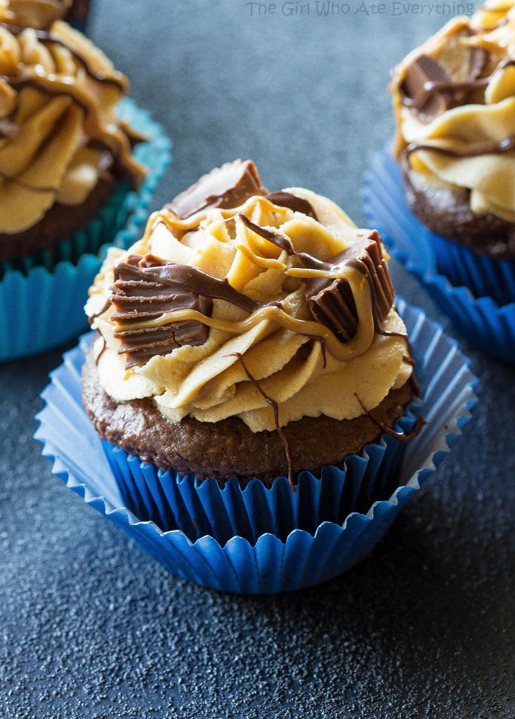 Peanut Butter Cupcakes With Creamy Frosting
