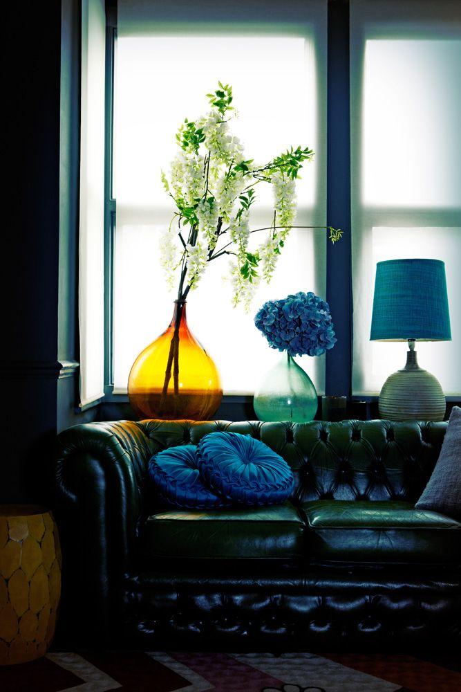 bright blue accents, dark furniture!
