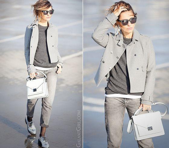 Galant-Girl Ellena - Loeffler Randall Satchel, Asos Mom Jeans, Zara Silver Oxfords - Grey scale.