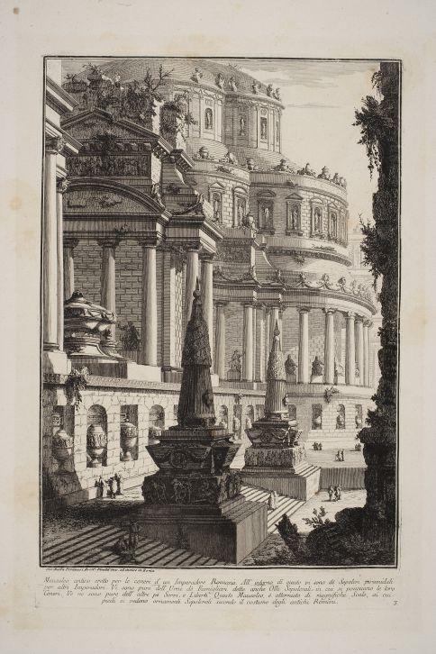 Mausoleo antiguo erigido para las cenizas de un emperador romano. Prima Parte di Architetture, e Prospettive (1743). Fondazione Giorgio Cini, Venecia