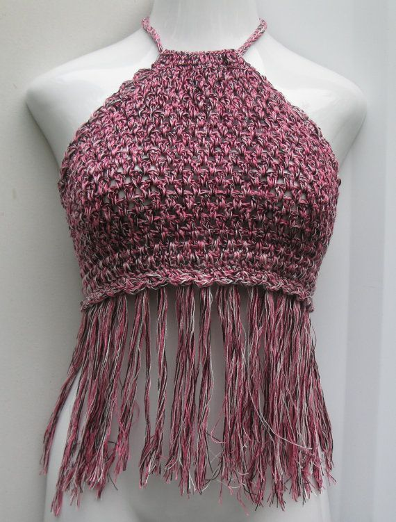 Crochet halter top 70's fashion Halter top with by Elegantcrochets, $52.00