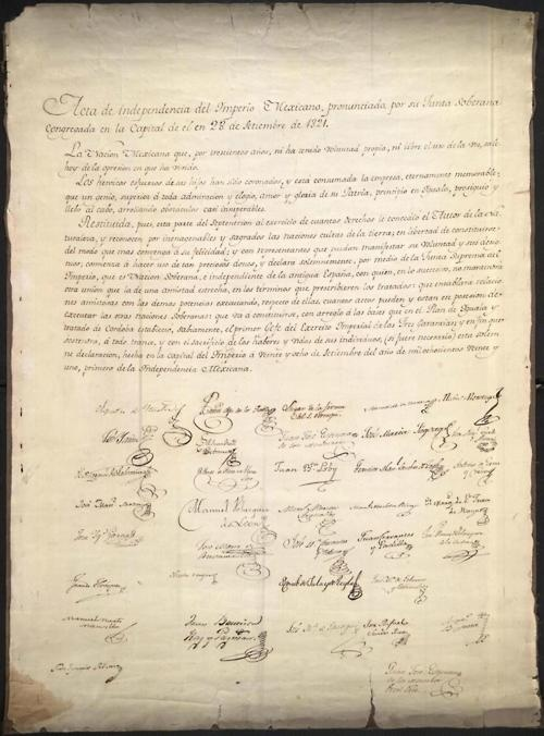 The Declaration of Independence of the Mexican Empire was signed 191 years ago today, on September 28, 1821, putting and end to the Mexican War of Independence. Gen. Agustín de Iturbide would begin his brief reign as the self-styled Emperor of Mexico the following year.