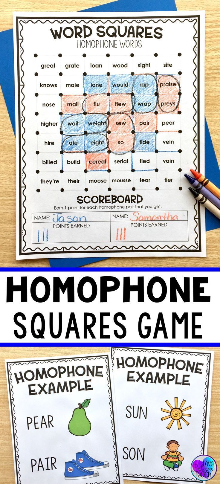 This Homophones Activity Is A Fun Way For Your Students To Practice Homophone Pairs Included Is A Homophone Definiti Homophones Words Word Squares Homophones [ 1619 x 736 Pixel ]