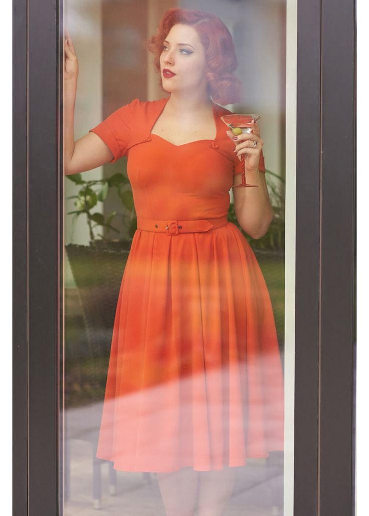Miss Candyfloss stella dress orange tangerine swing jurk oranje