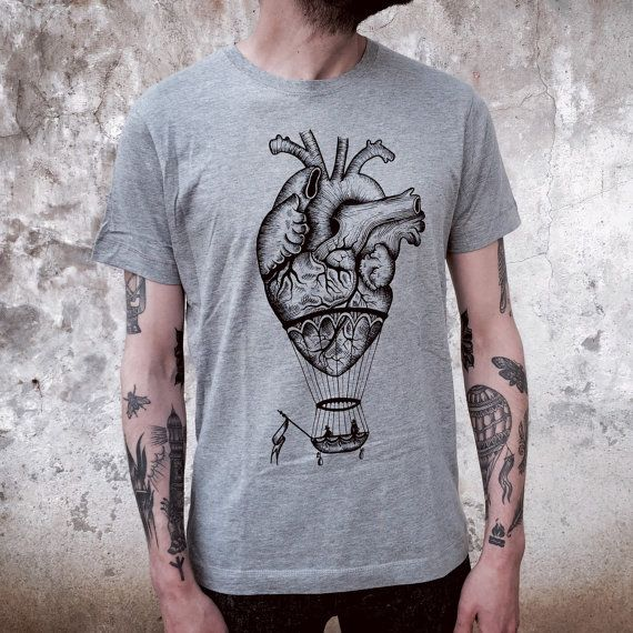 ANATOMICAL heart / hot air BALLOON man's t-shirt. Screen printedhandmade design,vintage tattoo print. Melange grey. gift for him. mens shirt