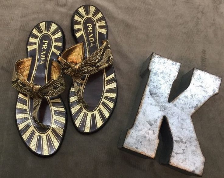 PRADA Gold Wood Sandals Flip Flops Women's Sz 38.5* #PRADA #FlipFlops