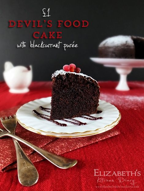 £1 Devils food cake with blackcurrant puree