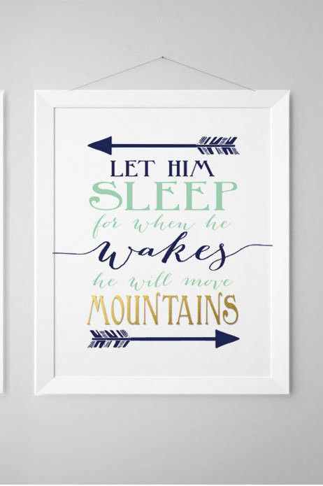 let him sleep for when he wakes he will move mountains navy and coral