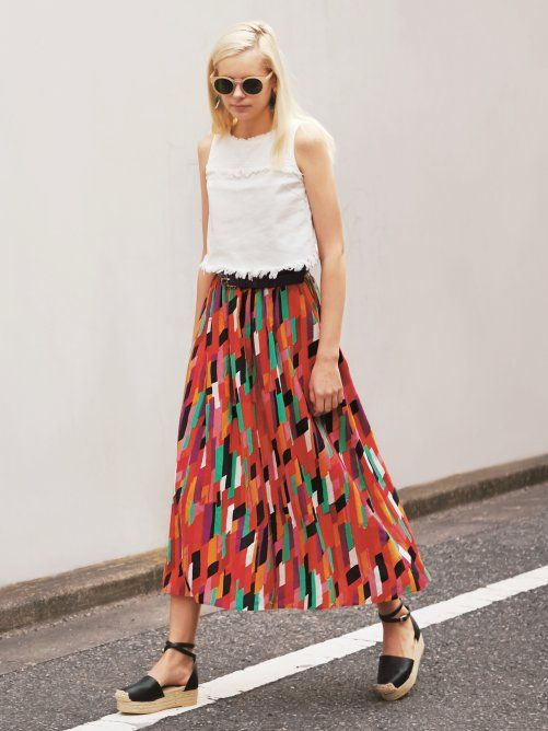 【sweet/ar 5月号掲載】幾何ストライプロングスカート