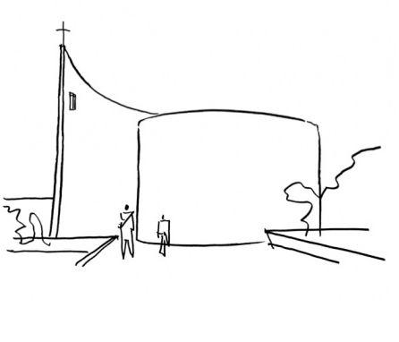 """BLACK & WHITE SKETCHES   041   OSCAR NIEMEYER conceptsketch: """" Oscar Niemayer Capela Alvorada """""""