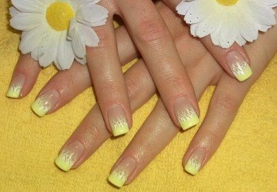 French Nail Tips | French Manicure: Long French Nails In Yellow & Orange | Nail Art Ideas