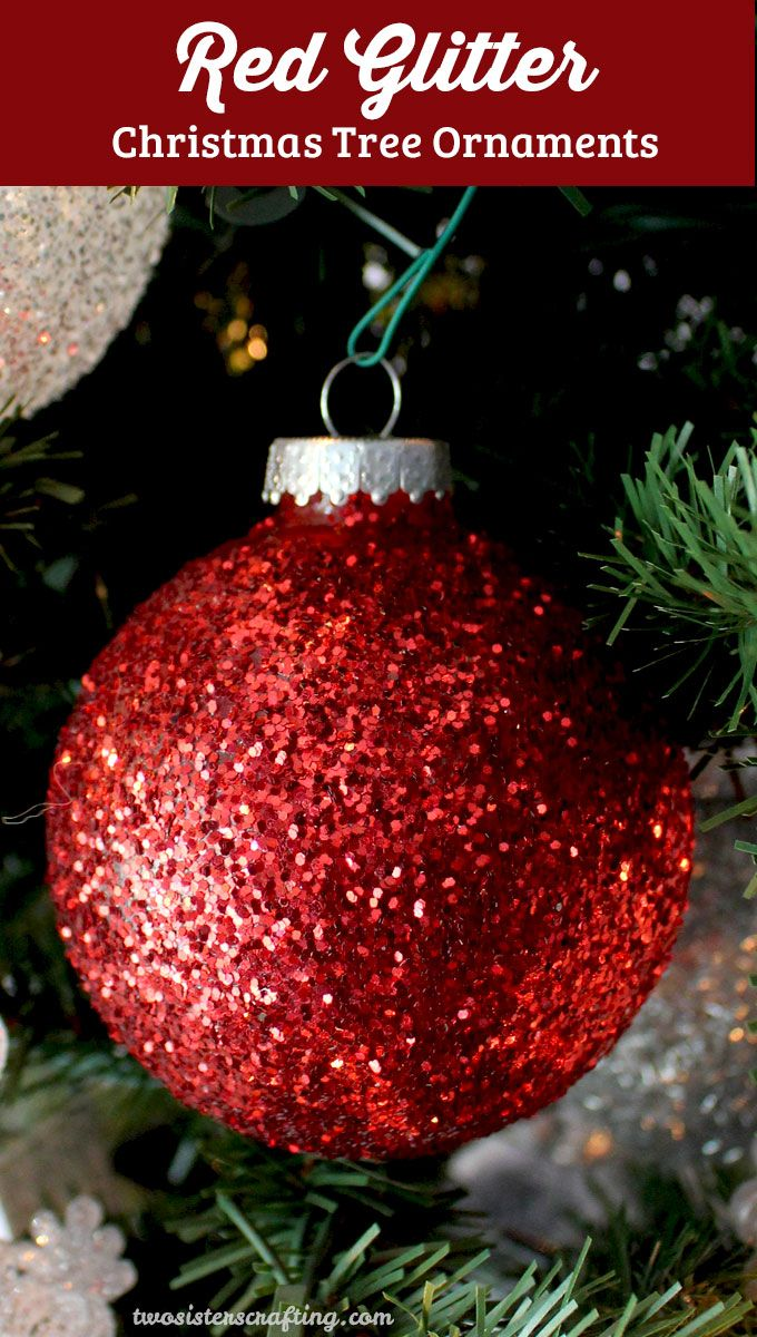 Red Glitter Christmas Tree Decorations : Red glitter christmas tree ornaments trees crafts and