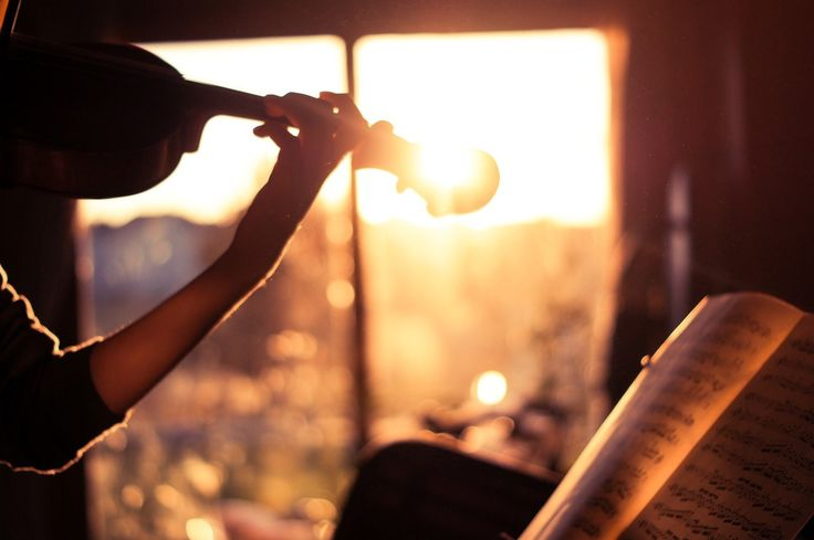 sunset | playing the violin |
