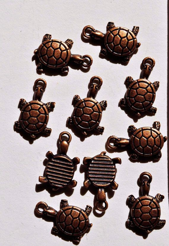 24  copper turtles supplies findings stampings charms by wedoart, $5.00