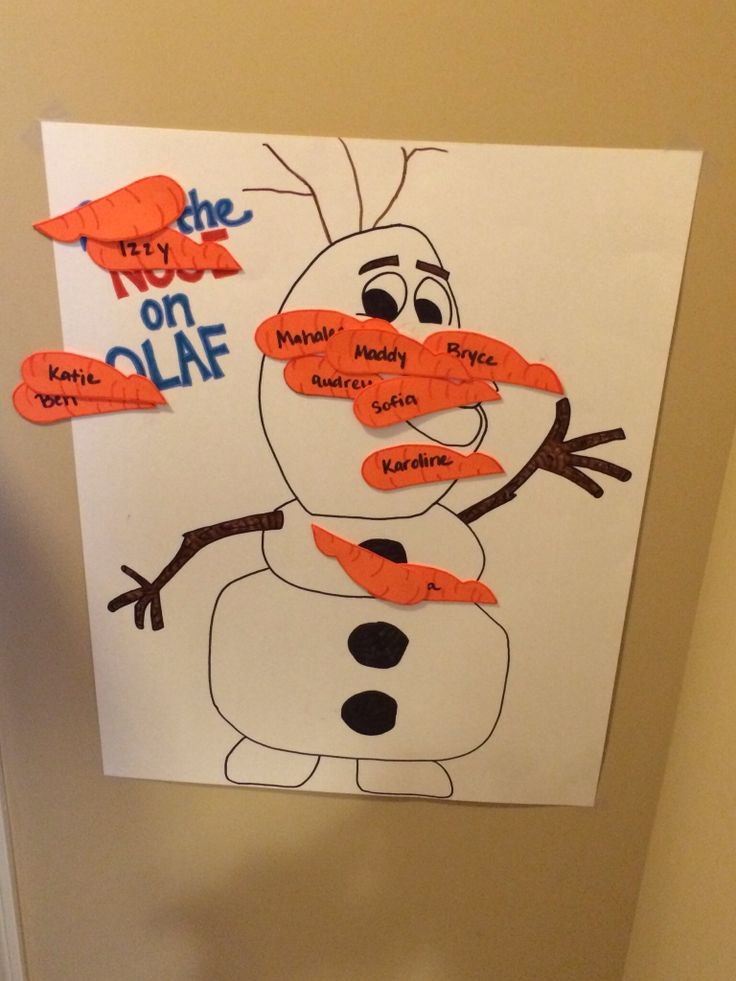 Pin The Nose on Olaf game. I used a poster board, free-handed an Olaf I found in a coloring book. Then made carrots out of craft foam.. made them sticky with double-sided tape.