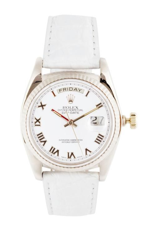 Vintage Rolex 18K White Gold Day-Date With White Roman Numeral Dial by CMT Fine Watch and Jewelry Advisors for Preorder on Moda Operandi