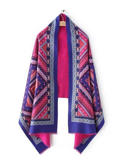 Bufanda con estampado étnico con flecos de pestaña - azul