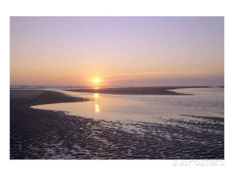 Sunrise on the beach, Langeoog, East Frisian Islands, Lower Saxony, Germany Posters bij AllPosters.nl