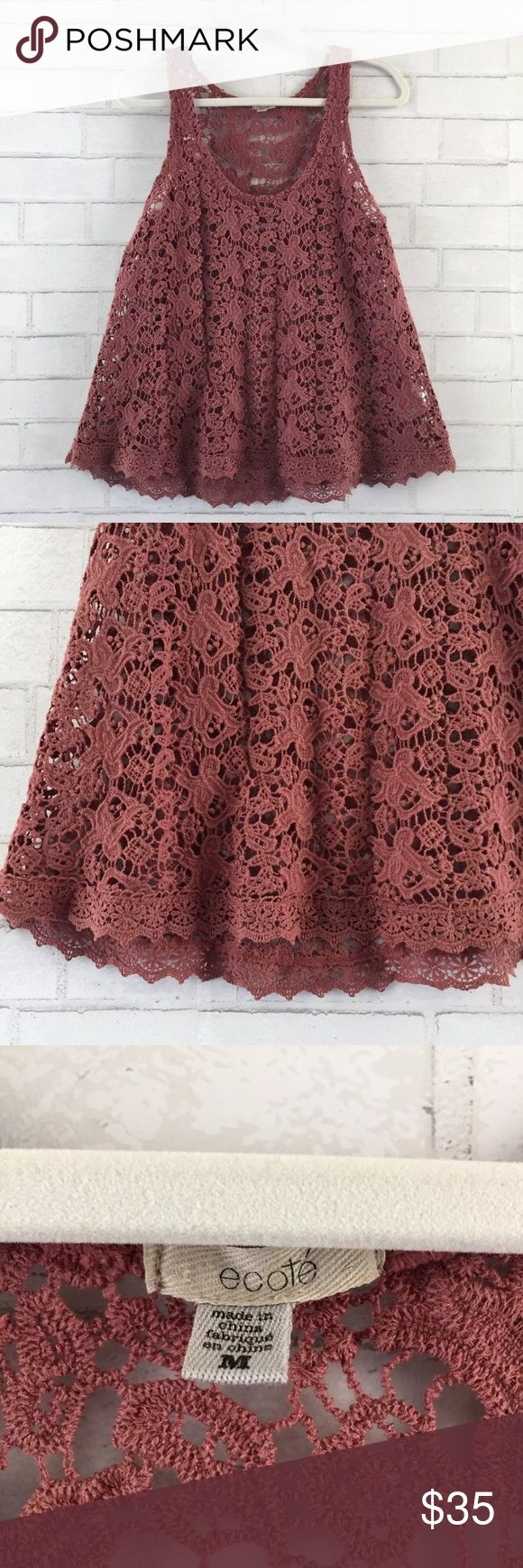 [Ecote] Urban Outfitters Lace Crochet Tank Urban Outfitters Ecote Tank Top, Size Medium. Pre-owned, good condition! No tears, rips, or stains! Quickly buy now before it's gone! Color variation depends on screen and lighting.  Please ask if you have any other questions! Ecote Tops Tank Tops