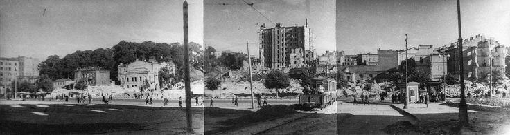 Площадь Калинина (сейчас — майдан Незалежности) в 1944 году, начало разбора руин. Уцелевшее здание сахарного треста — слева от столба.   Фото: Государственный архив Киевской области