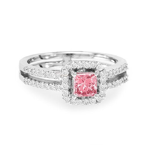 Pink Diamond Engagement Ring - This adorable Princess Cut Pink Diamond Engagement Ring has a 0.52 carat enhanced Pink Diamond gem atop of the item & is professionally set in 18K White Gold within a prong setting. It is also surrounded by a very lovely squared frame row of 52 additional round brilliant cut accent stones on the shank. The total gem weight is .94 carats & all of the accent diamonds are 100% natural but the Pink Diamond is color enhanced. #unusualengagementrings