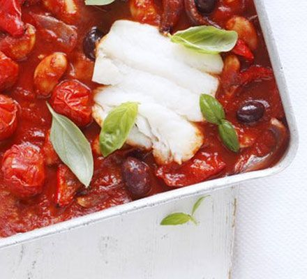 This simple everyday fish supper with smooth tomato sauce helps you hit 4 of your 5-a-day