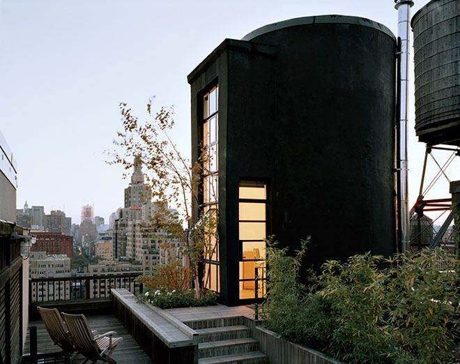 Old Water Tower on the skyline made into a living space.
