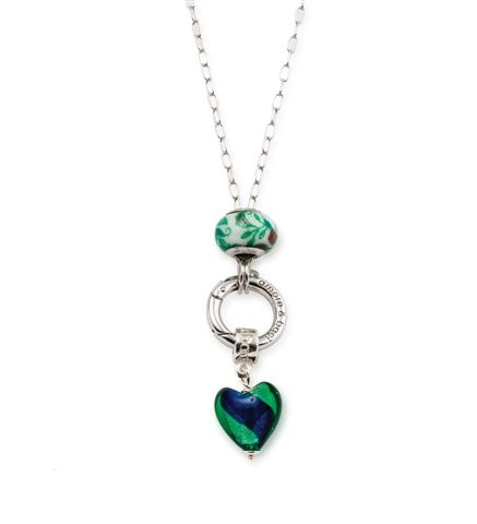 Amore & Baci green pendant silver necklace