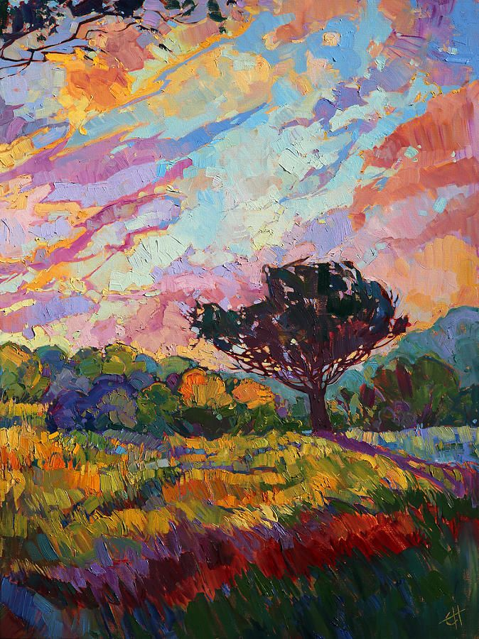 California Sky Quadtych - Lower Right Panel Painting by Erin Hanson