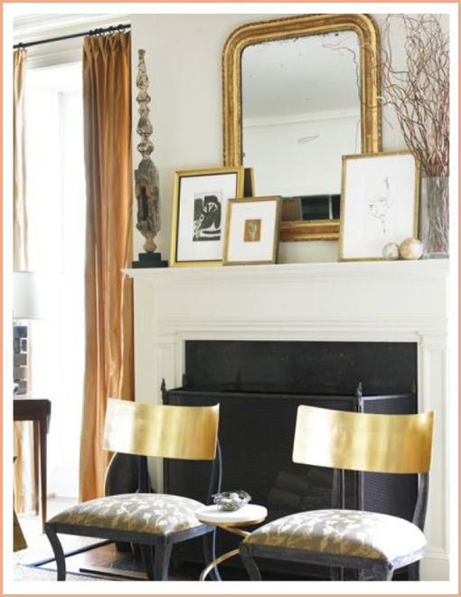 Mirrors and Art, Courtney-Giles, Layered-Mirror-Over-Fireplace Mantle-Decoration: