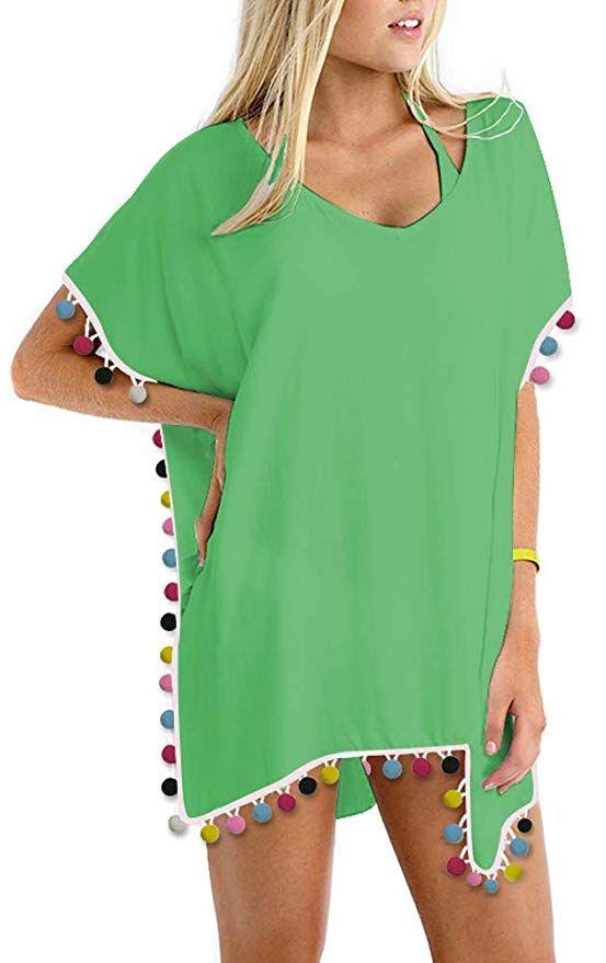 39de9600492 GDKEY Women Chiffon Tassel Swimsuit Bikini Stylish Beach Cover up at Amazon  Women s Clothing store