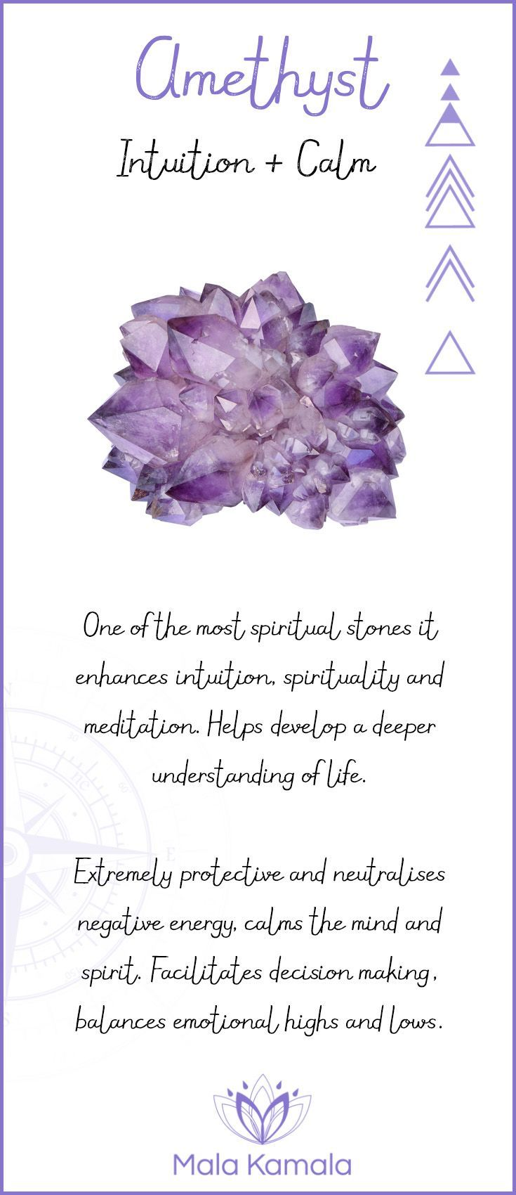 Pin To Save, Tap To Shop The Gem. What is the meaning and crystal and chakra healing properties of amethyst? Mala Kamala Mala Beads - Malas, Mala Beads, Mala Bracelets, Tiny Intentions, Baby Necklaces, Yoga Jewelry, Meditation Jewelry, Baltic Amber Neckla