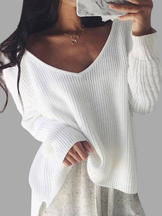 819f5c927 White V-neck Long Sleeves Loose Plunge Knitted Sweaters - US 16.95 ...