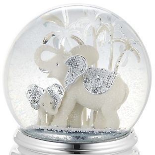 Personalized Elephant and Calf Musical Water Globe , Add Your Message