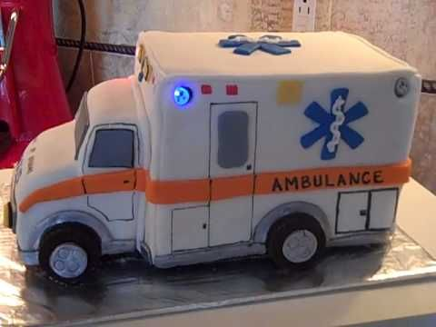 light up ambulance cake