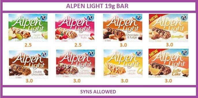 Alpen light 19 g bars