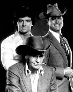 jim davis actor | Jim Davis (Jock Ewing) with Patrick Duffy (Bobby Ewing) and Larry ...