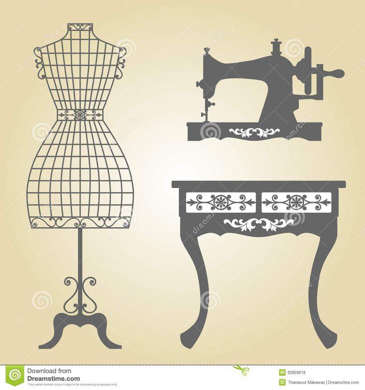 Vetor do manequim do vintage e da máquina de costura