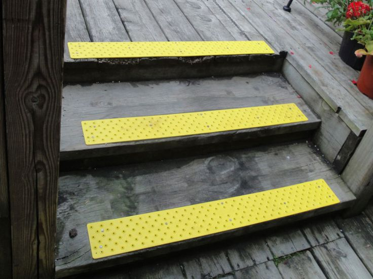 Best No Slip Treads for Stairs Ideas : Exterior Stair Design With Gray Wooden Treads And Floor Combine With Chic Anti Slip Yellow Tread Mats