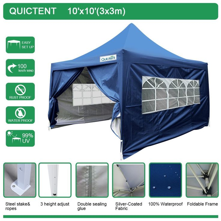 X Pyramid Waterproof Navy Blue Pop Up Canopy