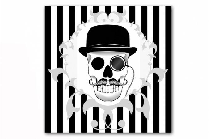 Baroque White Stripes en Zwarte Schedel Gentleman 50x50 cm, deco