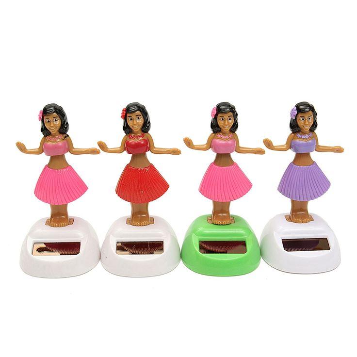 4pcs/set Solar Powered Dancing Hula Girl Swinging Bobble Toy Gift For Car Decoration Novelty Happy Dancing Solar Girls Toys