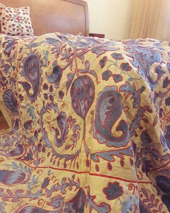 Suzani  silk Suzani handmade from Uzbekistan.Tablecloth Wall