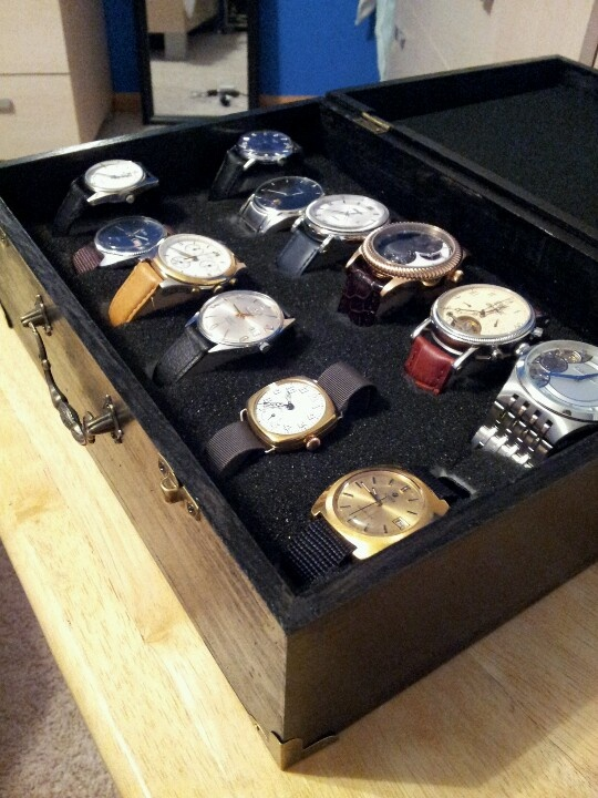 Diy watch case 13$ wooden box from hobby lobby, flat black paint, foam insert.