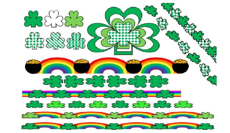 "Samples of shamrocks/borders you could make and/or download from the product ""Make Shamrock Clip Art Using Microsoft Power Point Basic Shapes I Go to http://www.teacherspayteachers.com/Store/Margo-Gentile"