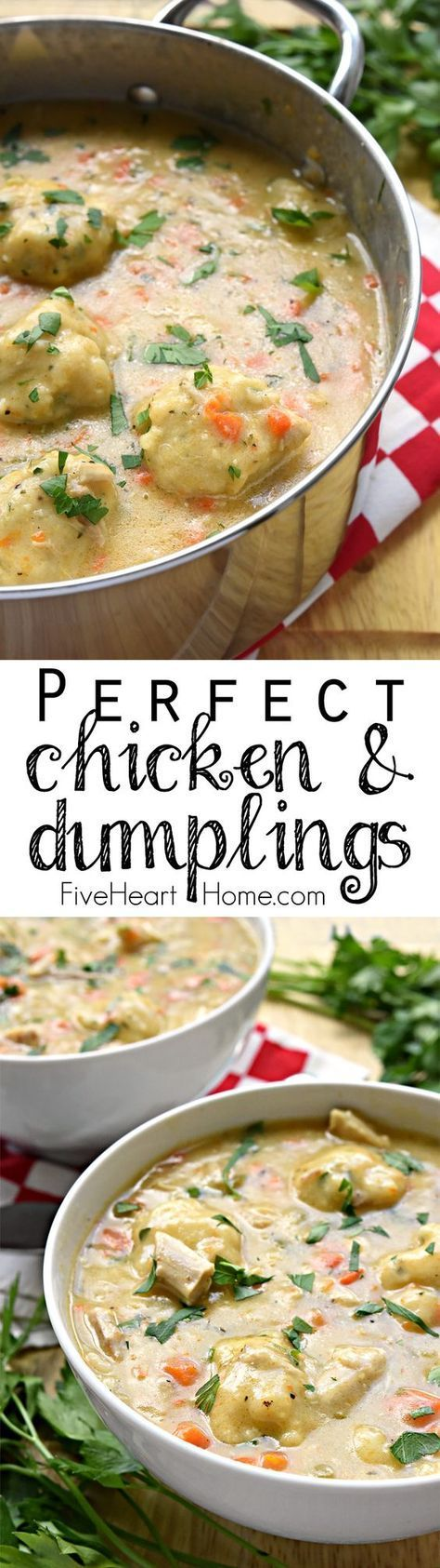 Homemade Chicken & Dumplings ~ a comfort food classic featuring flavorful broth loaded with tender chunks of chicken, sweet carrots, fresh thyme, and fluffy dumplings | FiveHeartHome.com: