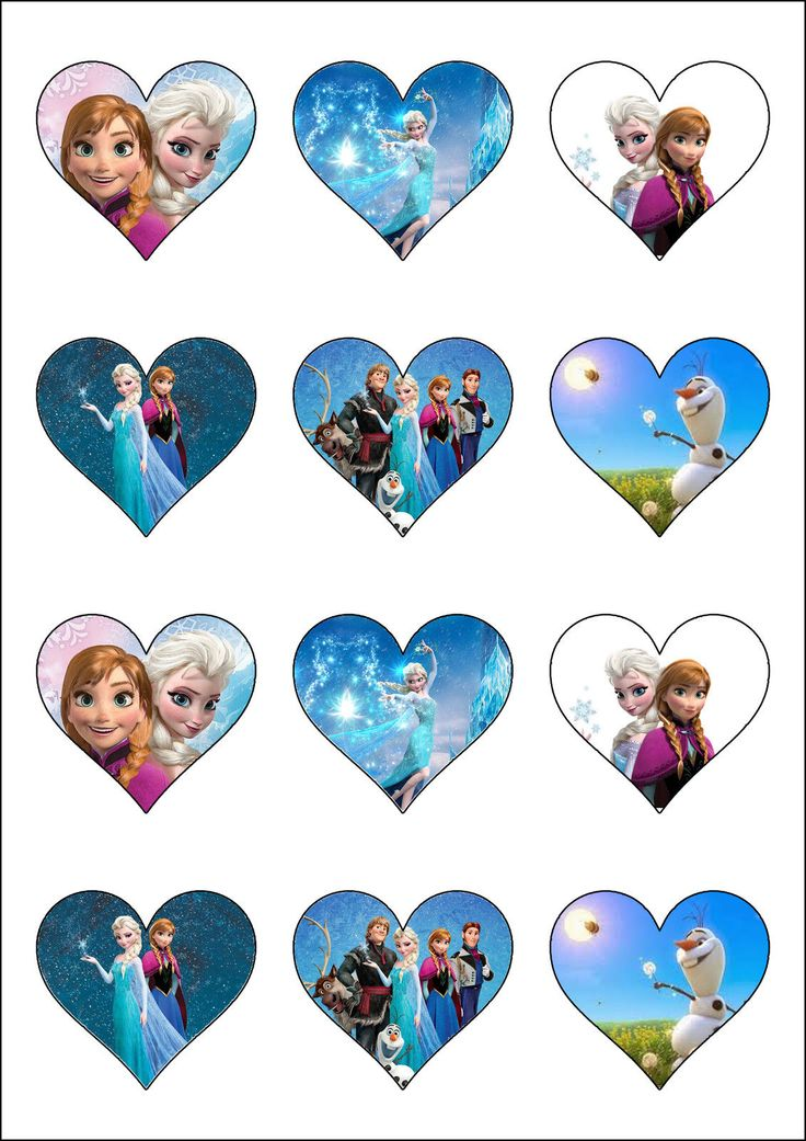 Disney's Frozen Heart Shaped Cupcake Toppers Cake Decorations - Elsa & Anna | eBay
