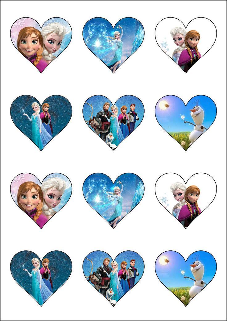 Disney's Frozen Heart Shaped Cupcake Toppers Cake Decorations - Elsa & Anna | eBay