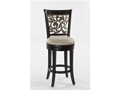 On-trend metallic's meet traditional bar styles in the Bennington Stool. Featuring a black distressed gray base, natural-hued seat upholstery and a gold metallic silver overlay pattern in a flowering vine design, the Bennington Stool is a show-stopper sure to get looks.